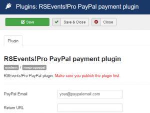 RSEvents!Pro PayPal configuration