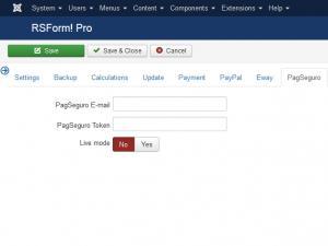 RSForm!Pro PagSeguro configuratio