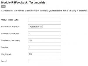 Testimonials Module Backend Settings