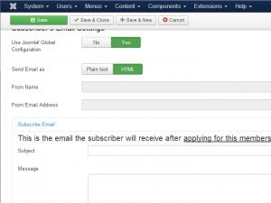 RSMembership!'s Subscriber email tab