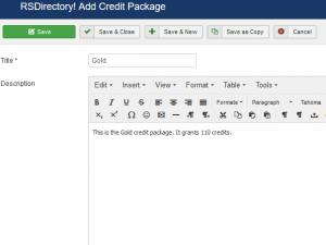 Add / Edit a Credit Package
