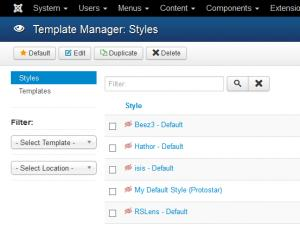 Template Manager - Set RSLens as Default