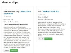 Memberships Default Layout