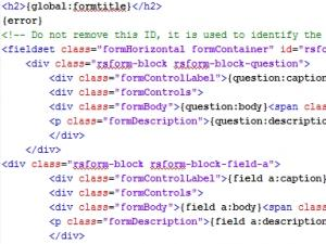 The form layout's code