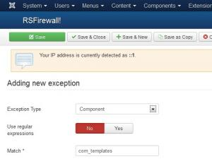 Creating an exception for all templates