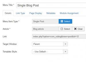 RSBlog! Single Post menu item