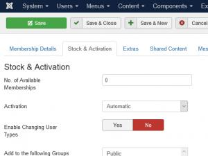 The Stock and Activation tab
