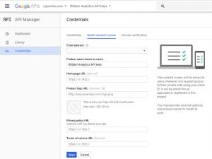 RSSeo! Google Api Console - Consent screen
