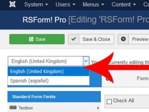 RSForm!Pro - language selector