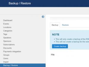 Backup / Restore feature
