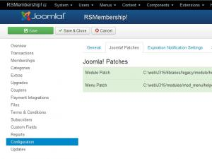 The Joomla! patches tab