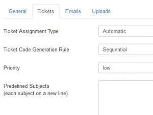 Edit department - tickets tab