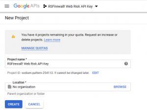 RSFirewall! Google Web Risk API - Create project