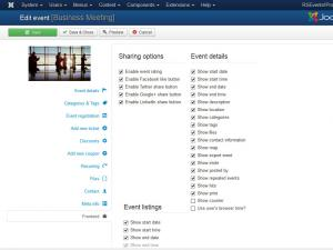 RSEvents!Pro Add/Edit event frontend tab
