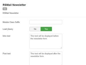 RSMail! Subscribe Module configuration
