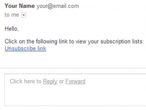 Unsubscribe link sent to inbox