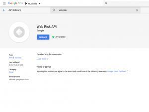 RSFirewall! Google Web Risk API - Enable API