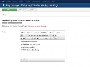 Wire Transfer plugin configuration