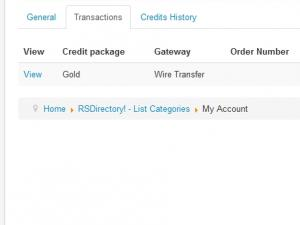 My Account Transactions tab