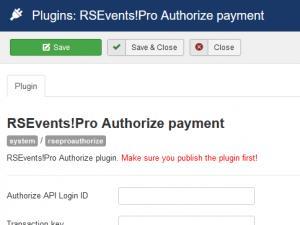 RSEvents!Pro Authorize.net configuration