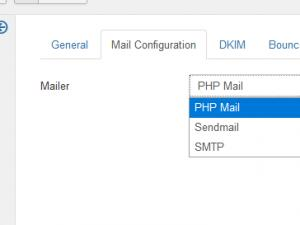 Mail Configuration tab