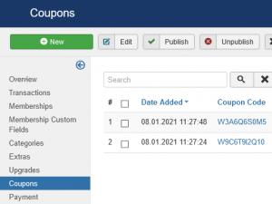 Coupons listing