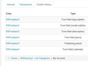 My Account Credits History tab