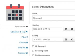 Create Events Menu Item