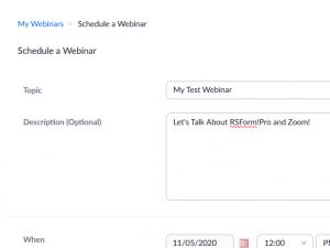 Scheduling a webinar in Zoom