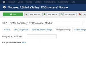 RSShowcase! Instagram settings