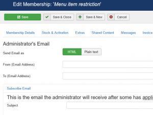 Membership Administrator's email