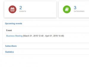RSEvents!Pro Dashboard Upcoming Events