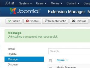 Joomla! uninstall complete