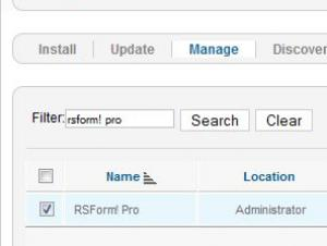 Uninstall RSForm!Pro - Manage Extensions