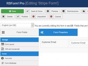 RSForm!Pro Stripe - map Customer Email field