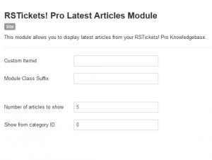 Latest articles module configuration