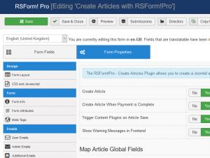 Create Article configuration options