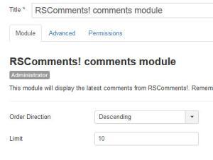 The Latest Comments Admin Module configurable options.