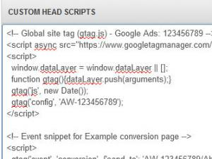 RSSeo! Custom Head Scripts area