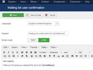 Waiting list User confirmation email