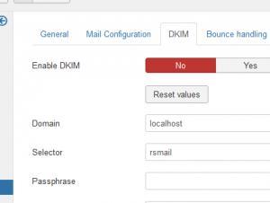 DKIM Configuration tab