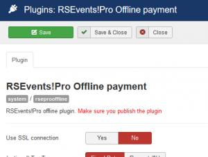 RSEvents!Pro Offline Payment plugin configuration