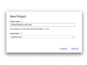 RSSeo! Google Api Console - project name