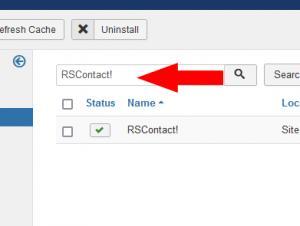 Uninstalling RSContact! module - Step 2