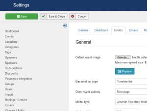 Events Settings tab