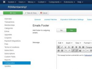 Configuration - Emails Footer tab