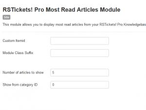 Most read articles configuration