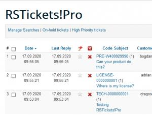 Tickets list menu item