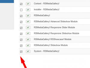 Select RSmediaGallery! and Modules / plugins and click Uninstall