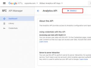 RSSeo! Google Api Console - enable Analytics API